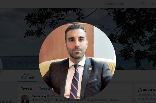 Renuncia Simón Levy a la Subsecretaría de Planeación y Política Turística