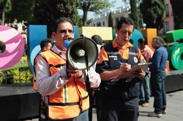 El Ayuntamiento de Puebla realizó simulacro de sismo