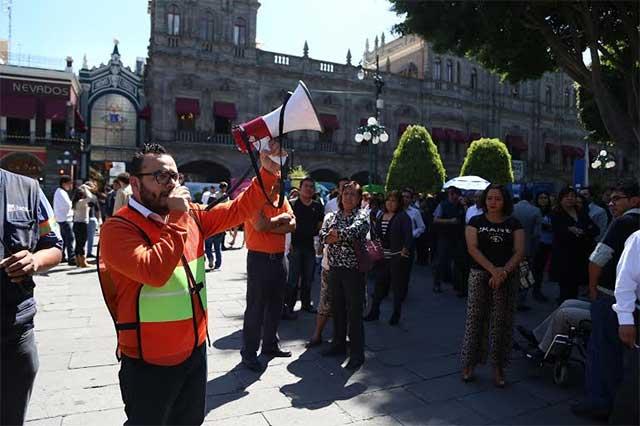 Ayuntamiento de Puebla realiza simulacro en caso de sismo