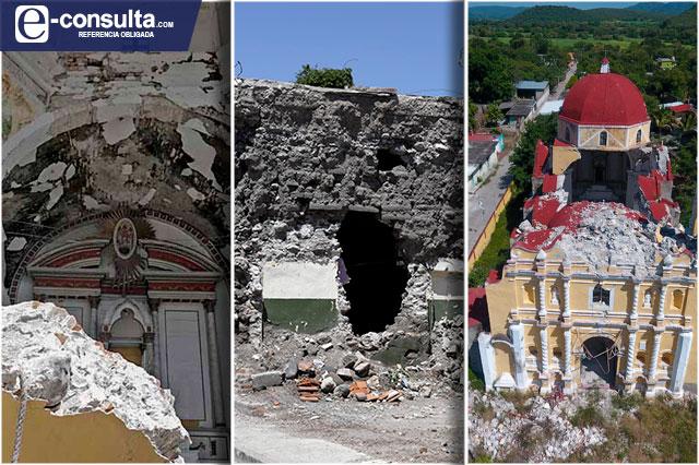 En ruinas siguen iglesias y casas de Puebla a 3 años del sismo