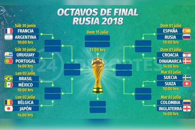 Listos los octavos en el Mundial; Brasil-México, el lunes