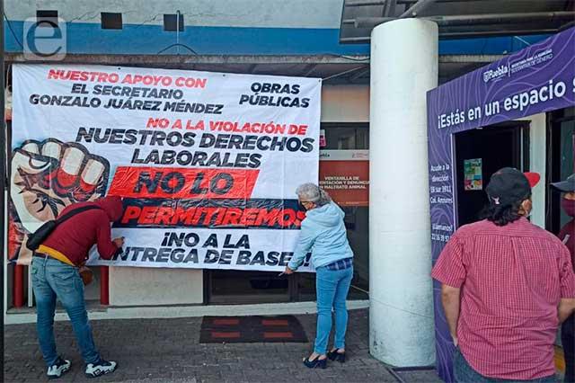 Sindicalistas del ayuntamiento de Puebla amplían paro de labores
