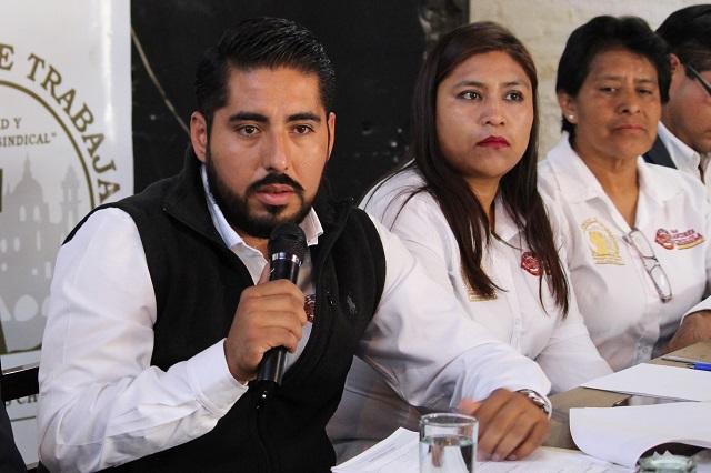 Amagan sindicalizados de San Andrés Cholula con huelga