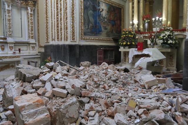 Quedan listos 14 de 29 templos de Puebla dañados en el 19S