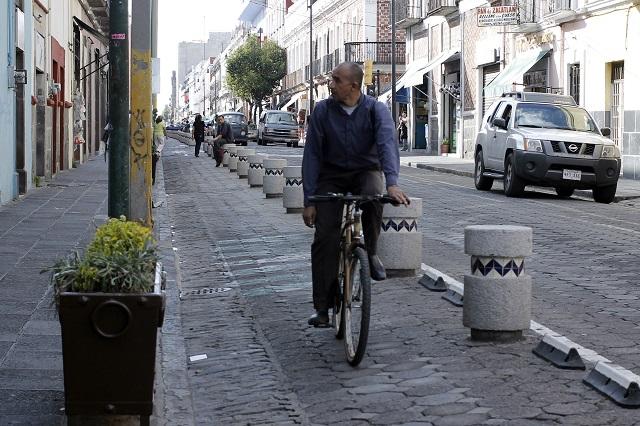 Planean suprimir las ciclovías del Centro Histórico de Puebla