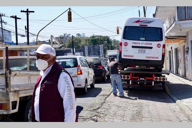 Asegura SMT seis unidades irregulares en Tlatlauquitepec y Coronango