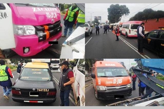 Operativo de SMT revisa transporte en San Pedro Cholula