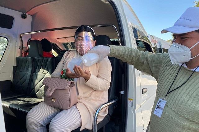 Operativos de sana distancia en el transporte público de Puebla