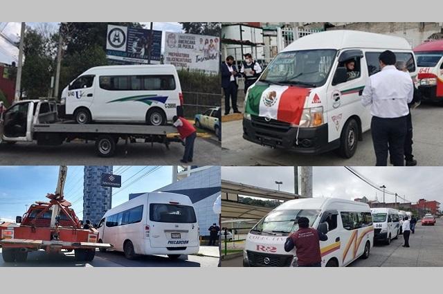 Aseguran 13 unidades chuecas de transporte en Puebla