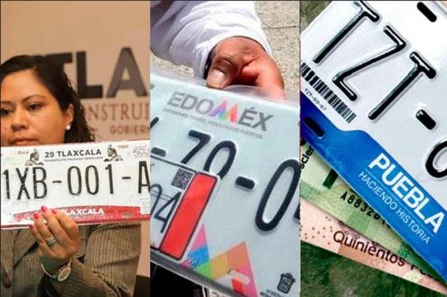 Son gratis las placas en estados vecinos pero no en Puebla