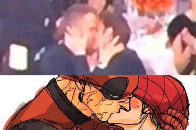 Los memes del beso entre actores de Deadpool y Spiderman