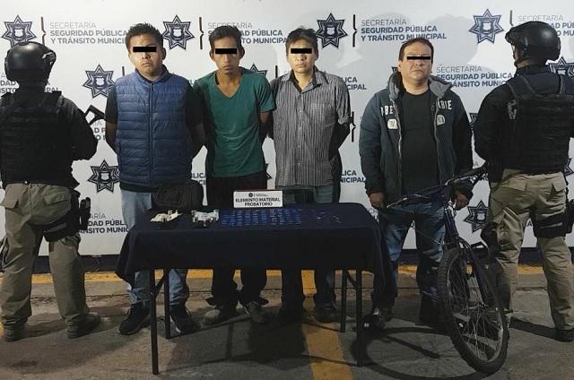 Policía de Puebla asegura 100 dosis de drogas y detiene a 4 personas