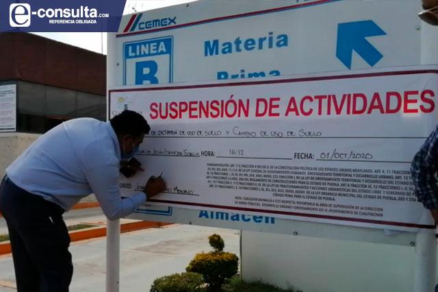 Cuautinchan suspende actividad de Cemex; pide pago de 200 mdp