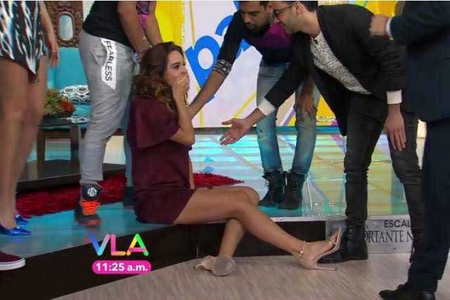 Embarazada, Tanía Rincón sufre caída en Venga la alegría