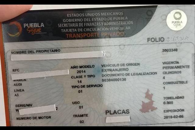 Multarán con 8 mp no cambiar tarjeta de circulación en Puebla