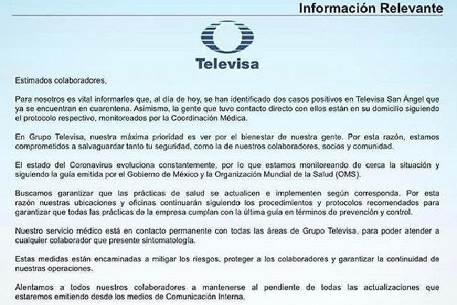 Filtran supuesto comunicado de Televisa ante casos de coronavirus