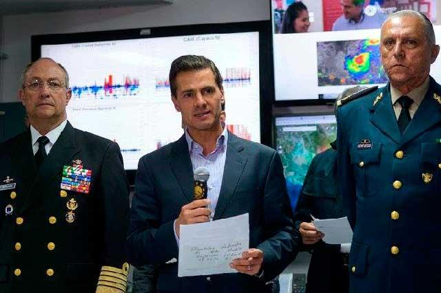 Peña Nieto dice que no sintió el temblor pero sí lo grabó en Los Pinos