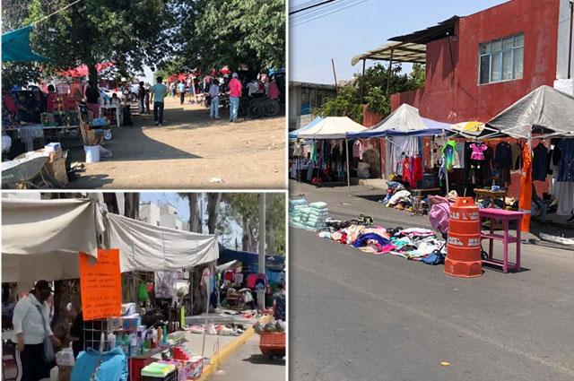Desafían tianguistas de Puebla capital al Covid-19