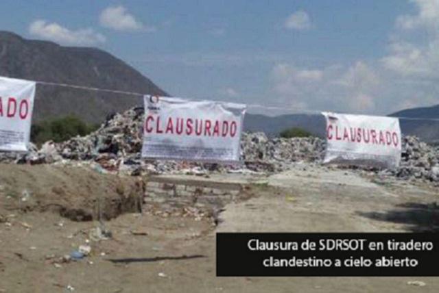 Clausura SDRSOT tiradero clandestino a cielo abierto en Palmar de Bravo