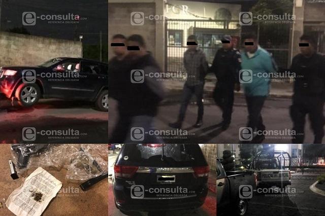 Por tirar balazos detienen a 3 con droga en Lomas de Angelópolis