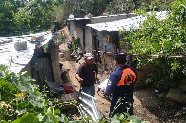 En Tochimilco quedan 50 familias en riesgo por lluvias