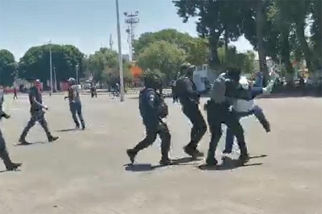 Protesta termina en desalojo de antorchistas en Huejotzingo