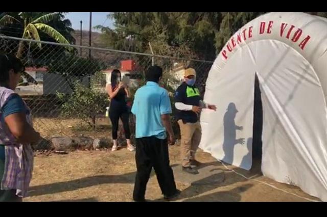Colocan en Tochimilco túneles sanitizantes por Covid-19