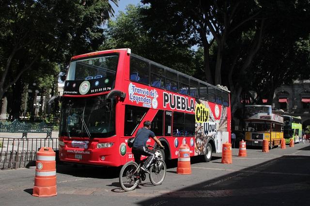 Reubicarán turibús en centro de Puebla por obras en el zócalo