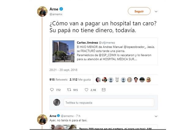 AMLO llevó a su hijo a hospital fifí, dice Arne y lo tunden en redes
