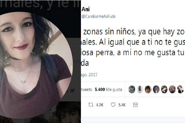 Chica pide zona sin niños como las hay sin animales y en Twitter la tunden
