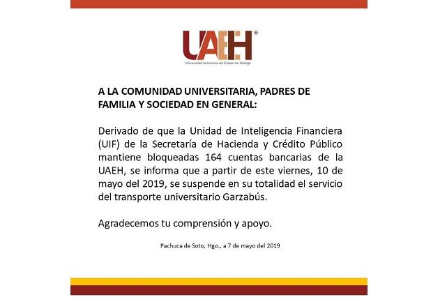 Cuenta para pagar nómina sigue bloqueada, denuncia Universidad de Hidalgo