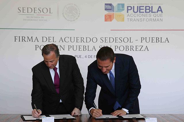 Sedesol y Puebla firman acuerdo educativo, de salud y servicios