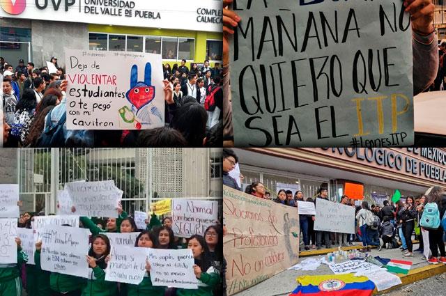 Exigen seguridad alumnos de 12 prepas y universidades en Puebla
