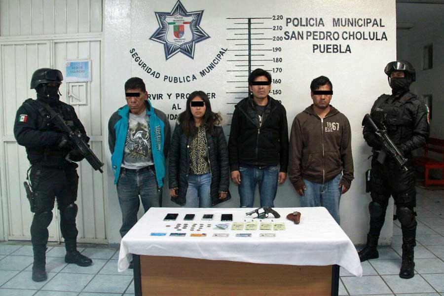 Capturan a 4 personas por portación de arma, en Cholula
