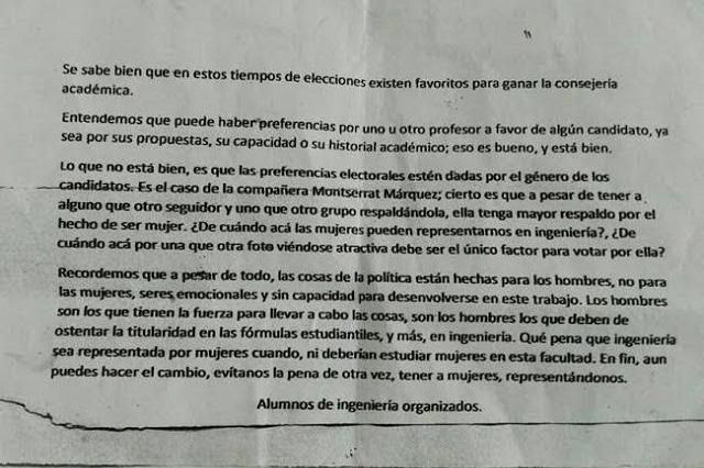 Acusan campaña misógina contra alumna de ingeniería de la BUAP