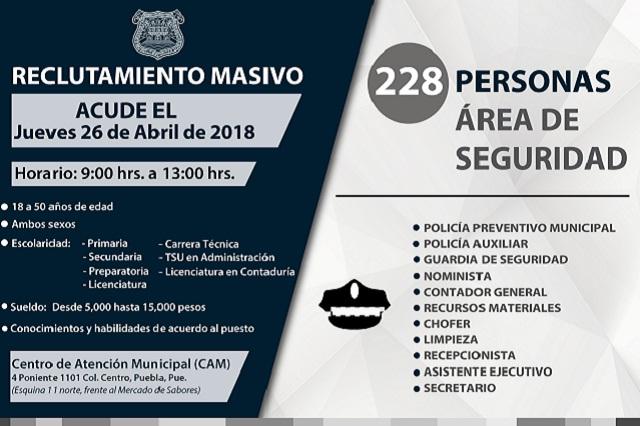 Ofrece 200 plazas de trabajo el gobierno municipal de Puebla