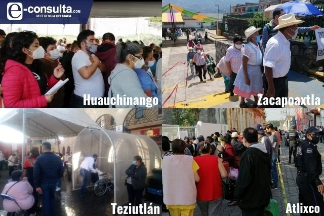 Ambulantes y aglomeraciones en vacunación masiva de Puebla