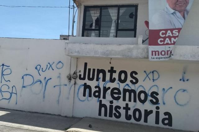 Ahora vandalizan casa de campaña de Aréchiga en Puebla
