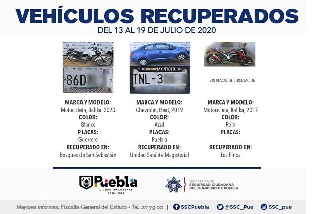 Recuperó Policía Municipal de Puebla nueve vehículos robados