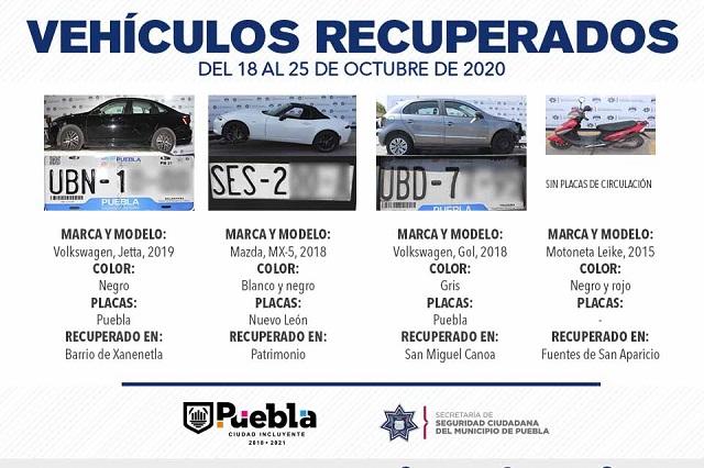 Recupera policía municipal de Puebla 8 vehículos con reporte de robo