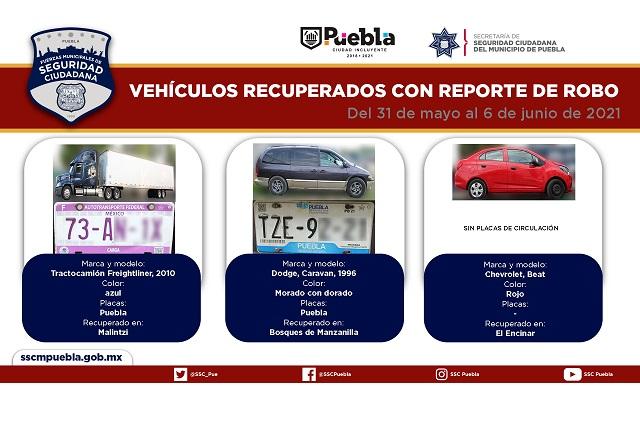 Recuperan en Puebla capital 7 vehículo con reporte de robo
