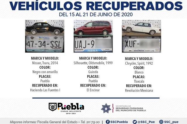 Recuperó Policía Municipal de Puebla 6 vehículos robados