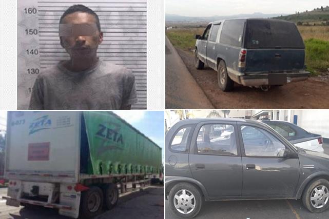 Policía Estatal recuperó 6 vehículos y 2 unidades de carga