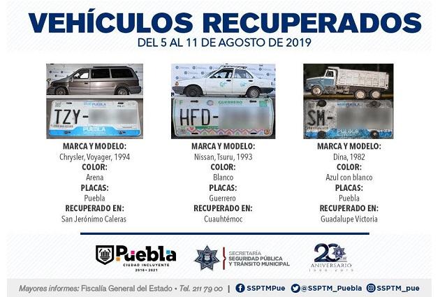 Recuperan 15 vehículos con reporte de robo en Puebla