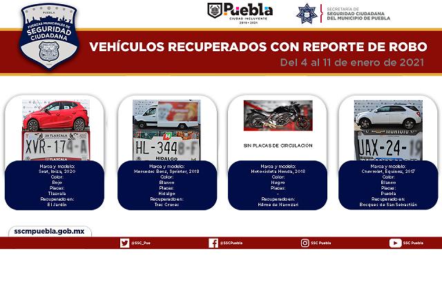Recupera policía municipal de Puebla 19 vehículos robados