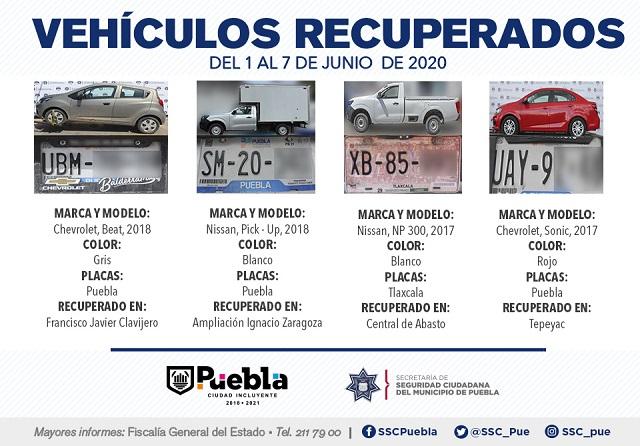 Recuperan en Puebla siete vehículos con reporte de robo