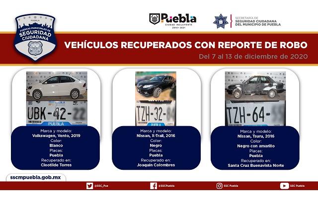 Remitió Policía Municipal de Puebla 15 vehículos al MP