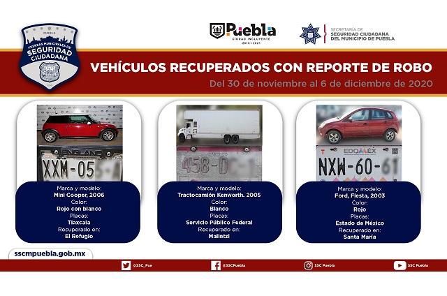 Remitió policía municipal de Puebla 31 vehículos ante el MP