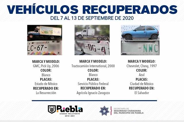 Recuperó policía Puebla ocho vehículos con reporte de robo