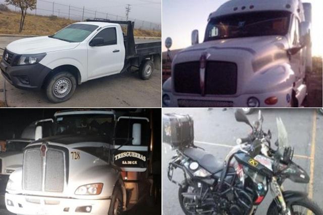 Policía estatal recupera seis vehículos robados en Puebla